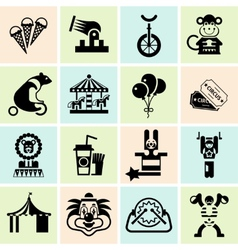 Circus icons set black vector image