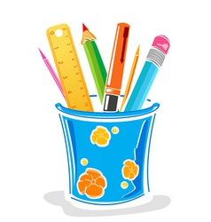 pens and pencils in box vector image