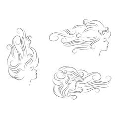 set girl hair line silhouette vector image
