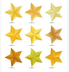 Set Golden star on white background vector image