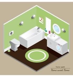 Bathroom 3D interior Green background vector image