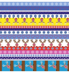 Christmas striped seamless pattern with reindeer vector image vector image