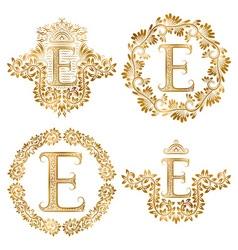 Golden letter E vintage monograms set Heraldic vector image vector image