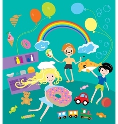Kids party with toys and food festival vector image vector image