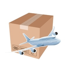 Plane and box as simbol of the airmail vector image