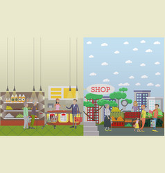 purchase of groceries in flat vector image