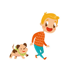smiling boy playing with his dog cute cartoon vector image