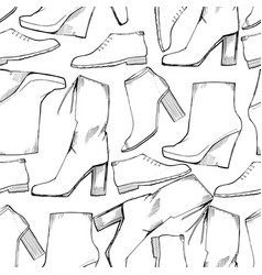 women seamless hand drawn pattern vector image