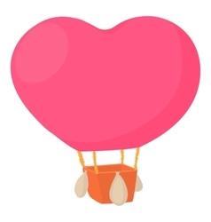 Air balloon in shape of heart icon cartoon style vector image