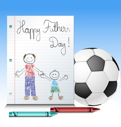 Fathers day kid drawing with ball and crayons vector image