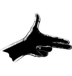 fingers shoot black vector image vector image