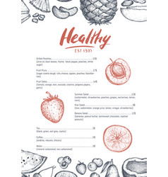 healthy food card hand drawn design vector image
