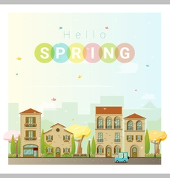 Hello spring cityscape background 2 vector image vector image