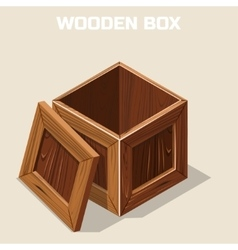 Open wooden box isometric vector image vector image