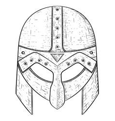 viking helmet hand drawn sketch vector image vector image