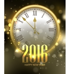 2016 Happy New Year background with clock vector image