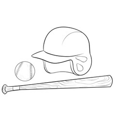 a children coloring bookpage a set of baseball vector image