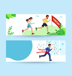 A man and a woman run to race finish line vector