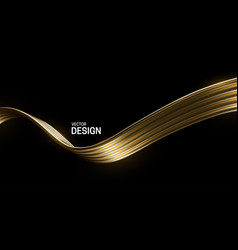 abstract golden wave isolated on black background vector image