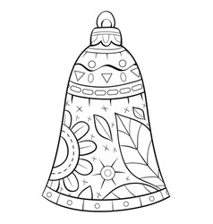 adult coloring bookpage a christmas bell with vector image