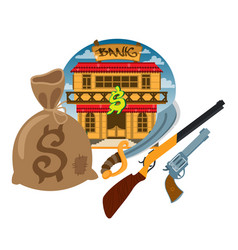 bank wild west game background and scenery vector image