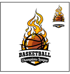 Basketball ball flame badge vector