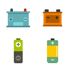 battery icon set flat style vector image