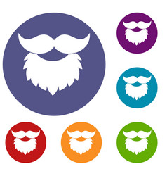 Beard and mustache icons set vector