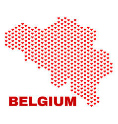 belgium map - mosaic of heart hearts vector image