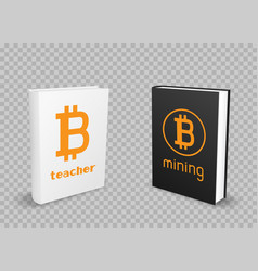 bitcoin black and white standing books vector image