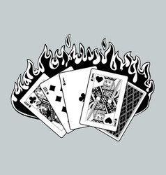 Black and white drawing burning playing cards vector