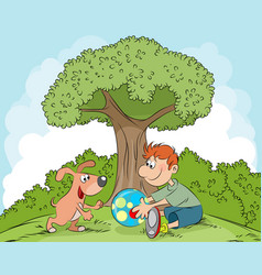 boy playing with dog vector image