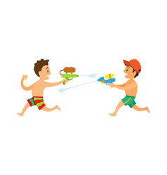 Boys running and shooting squirt gun duel vector