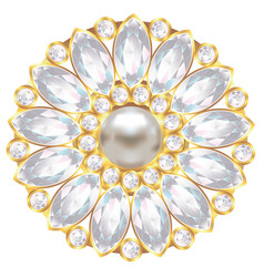 brooch with pearl and diamonds vector image