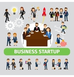 Business people group icons vector image