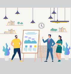business people team flip chart seminar training vector image
