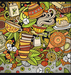 cartoon doodles tea time frame colorful vector image