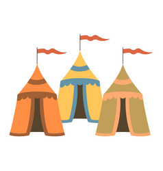 Cartoon medieval tents on white background vector