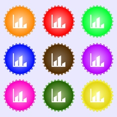 Chart icon sign A set of nine different colored vector image