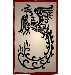 Chinese Dragons Silhouette - Tattoo vector image