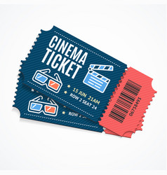 Cinema movie tickets set with elements vector