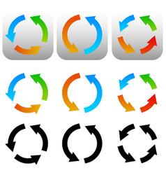 circular circle arrow icons symbols colorful and vector image
