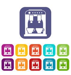 Coffee machine icons set vector