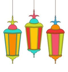 Colorful Arabic Lamps for Ramadan Kareem vector image