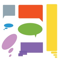 Comic cloud speech bubbles colored set of seven vector