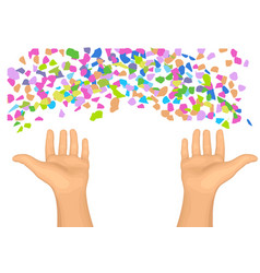 Confetti and hands vector