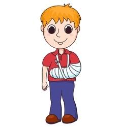 Cute boy with the broken arm vector