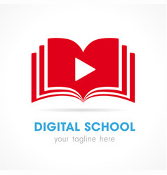 digtal school open book logo vector image