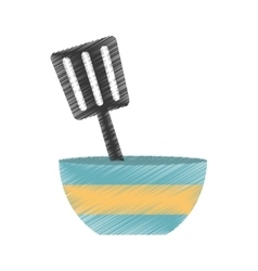 Drawing blue and yellow bowl spatula utensil vector