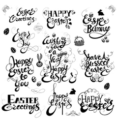 Easter Greetings in calligraphic style vector